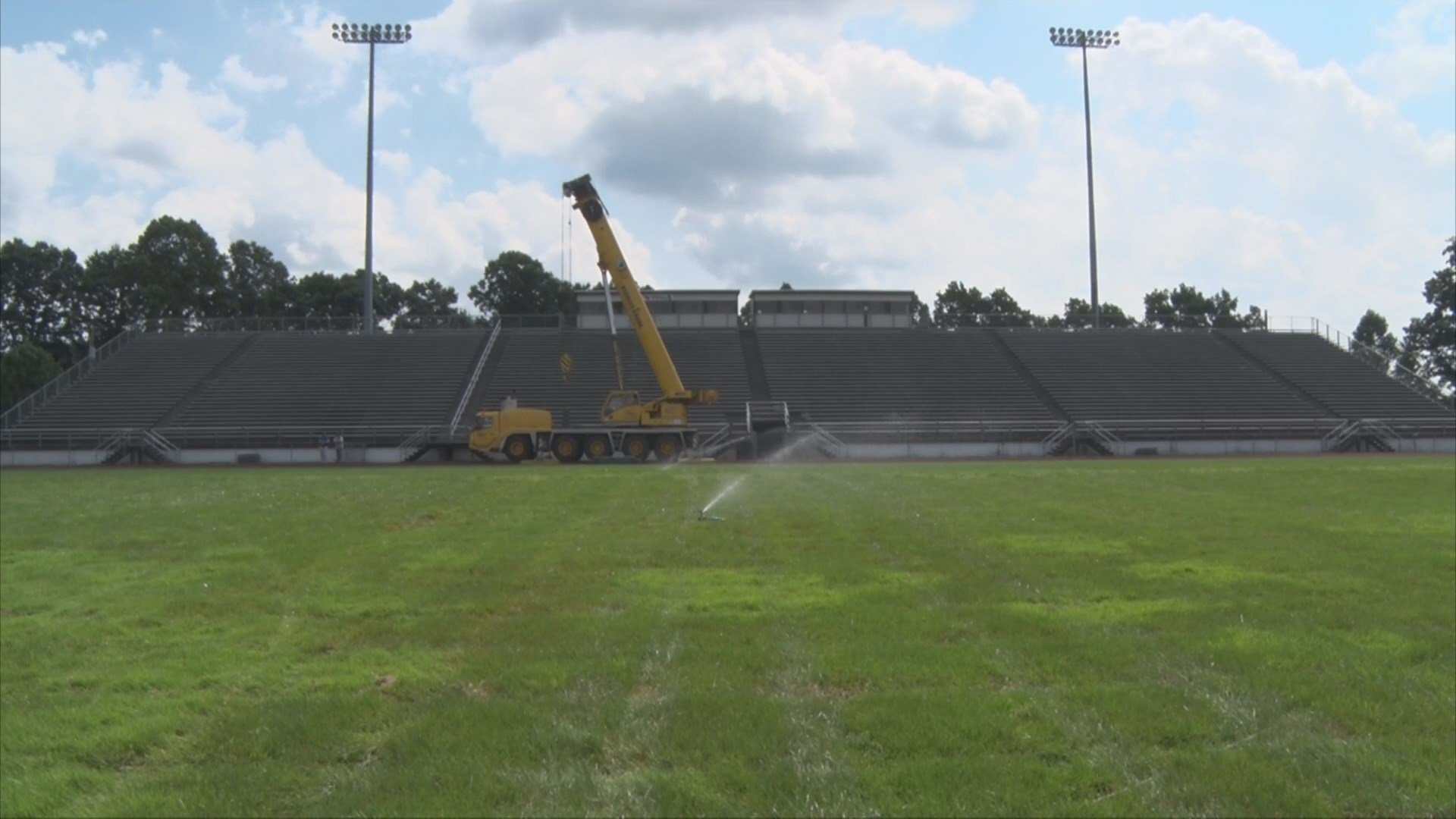 A construction crane sits in Van Meter Stadium, the home of the Flying Eagles and a new press box set to be completed by the end of next week.