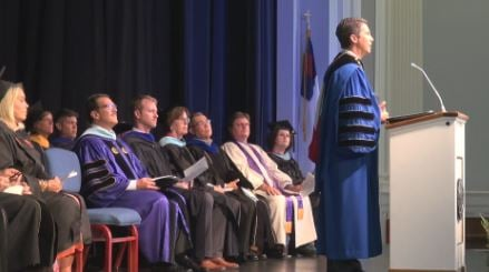 President David Olive addressing the newest class of Bluefield College