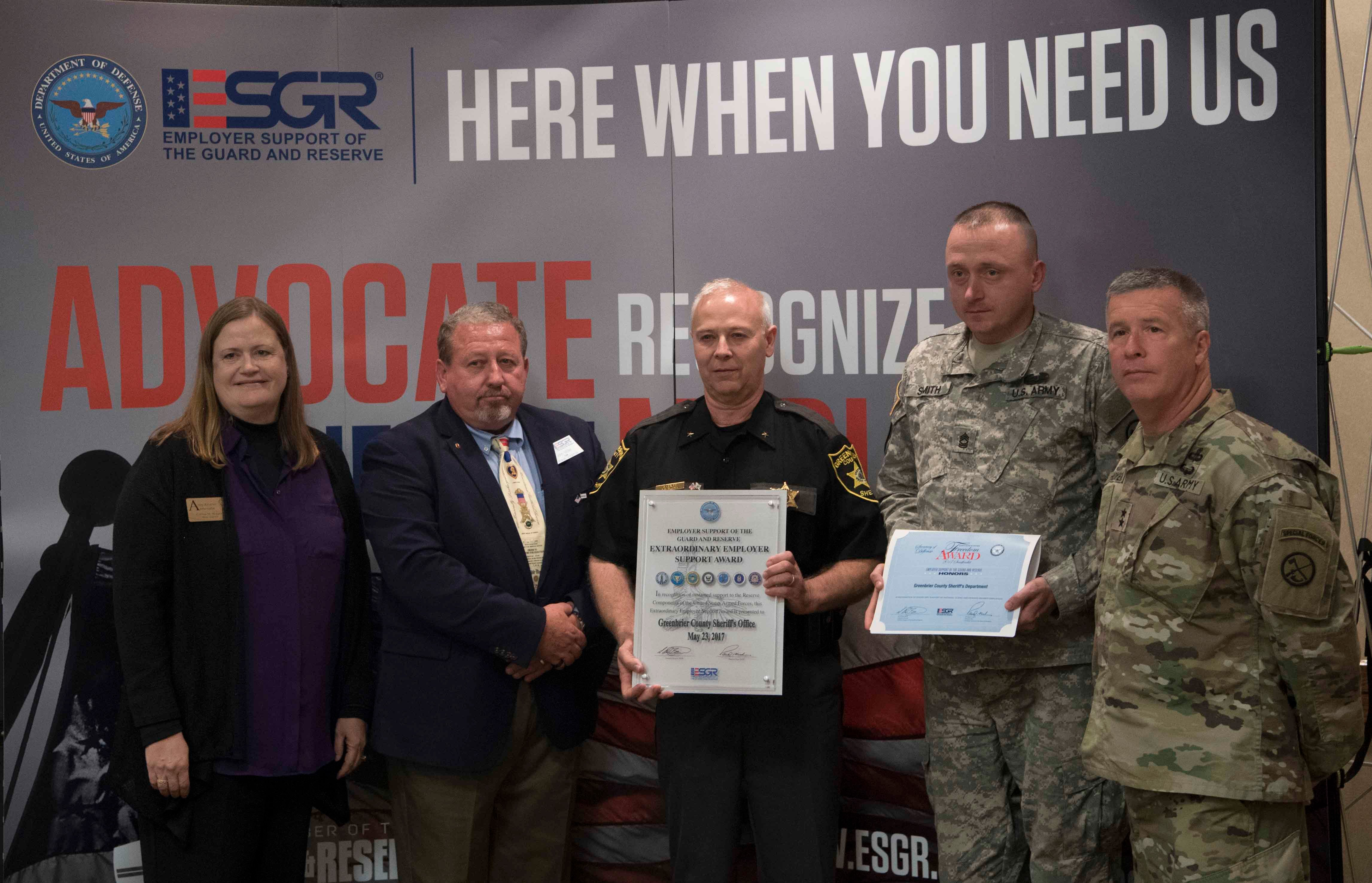 Left to Right, Corrina Boggess ( Army Reserve Ambassador for WV), John Miller (ESGR State Chairman), Sheriff Sloan, Master Sergeant Charles Smith and Major General James Hoyer