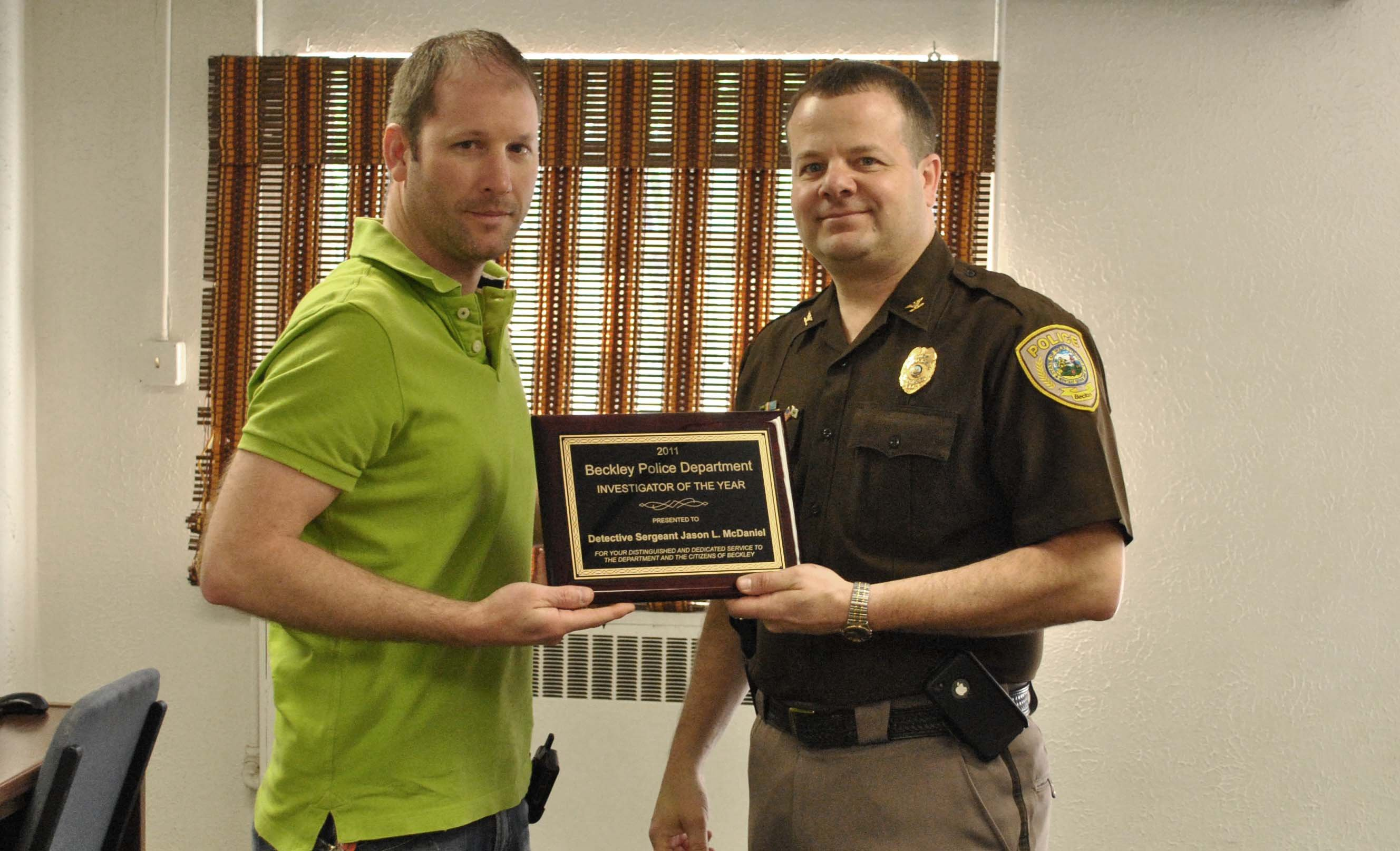 Detective Jason McDaniel, 2011 Investigator of the Year.