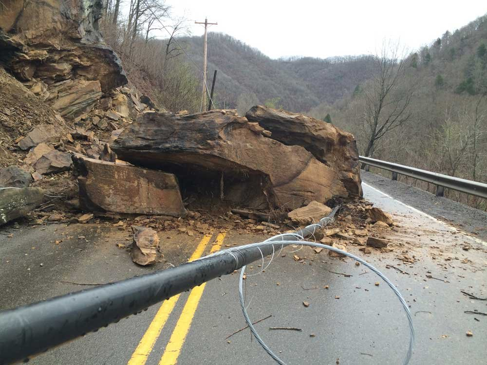 This was how the rockslide on CR1 in McDowell County WV looked on Monday, April 7.  Both lanes of the road are back open as of Wednesday, April 9 at 9:30 p.m.