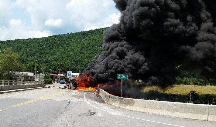 Tanker Truck flipped and caught fire. Courtesy Mike Shisler