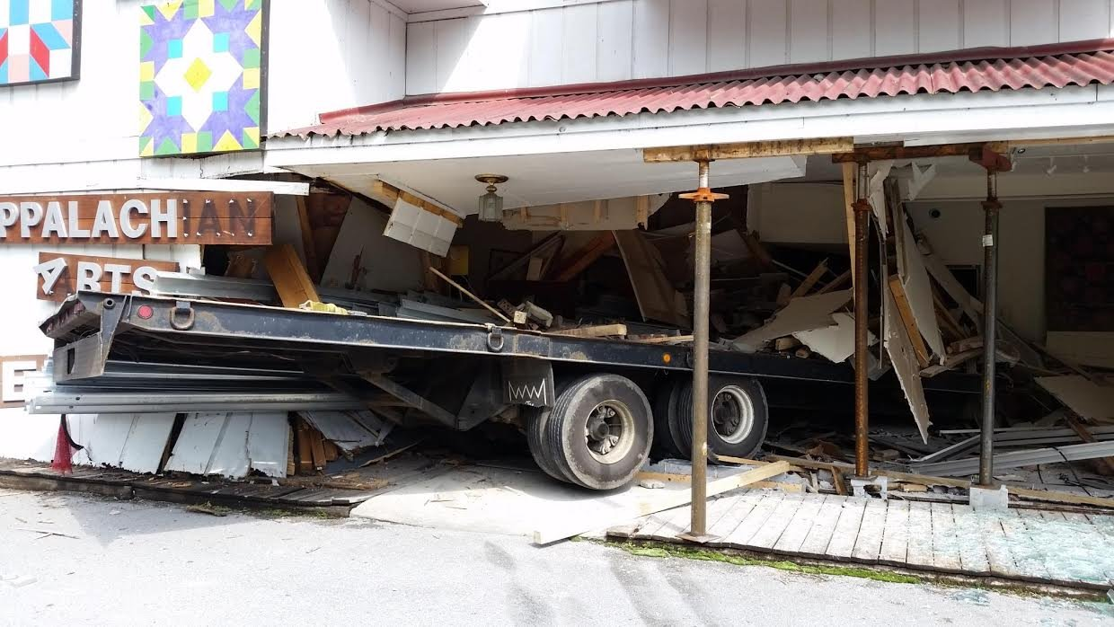 Trailer hauling guardrails crashes into the Appalachian Arts Center near Claypool Hill, VA