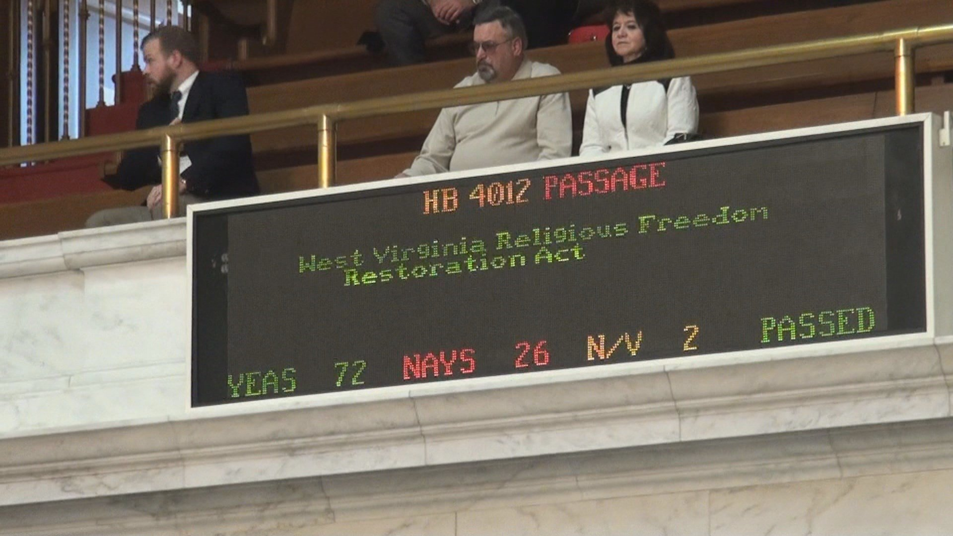 The House of Delegates cleared the Religious Freedom Restoration Act by a 72-26 vote, Thursday.
